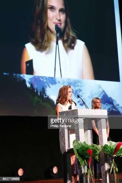 Natalie Portman accepts the EMA Ongoing Commitment Award onstage at the Environmental Media Association's 27th Annual EMA Awards at Barkar Hangar on...
