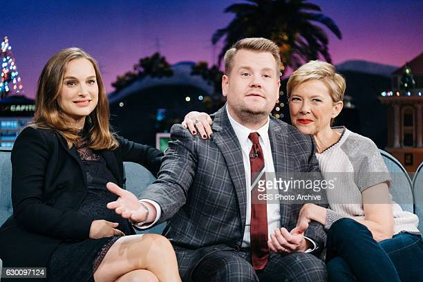 Natalie Portman and Annette Bening chat with James Corden during 'The Late Late Show with James Corden' Wednesday December 14 2016 On The CBS...