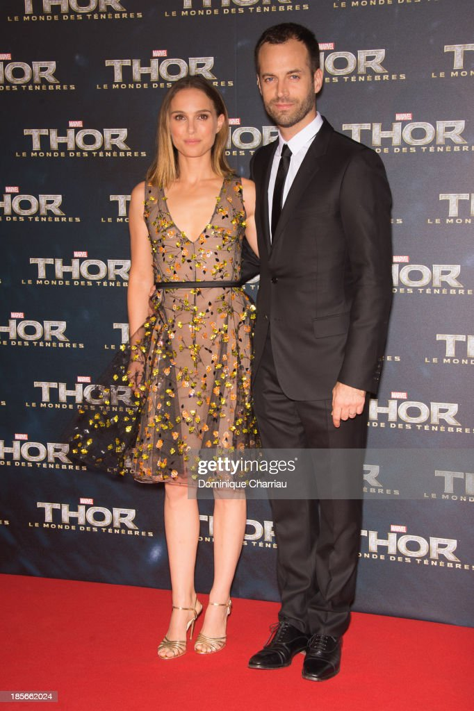 Natalie Portman and Benjamin Millepied attend the 'Thor: The Dark World' Paris Premiere at Le Grand Rex on October 23, 2013 in Paris, France.
