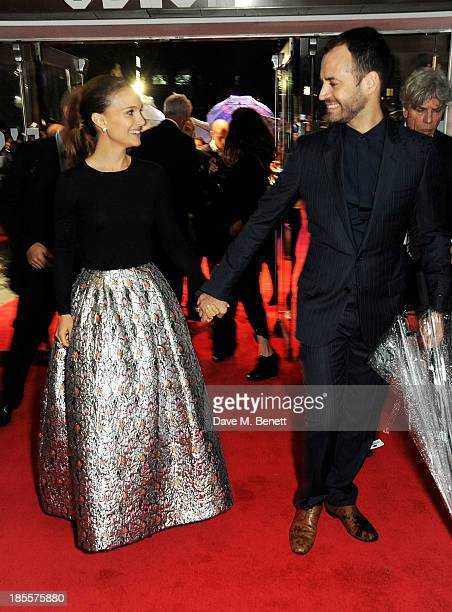 Natalie Portman and Benjamin Millepied attends the World Premiere of 'Thor The Dark World' at Odeon Leicester Square on October 22 2013 in London...