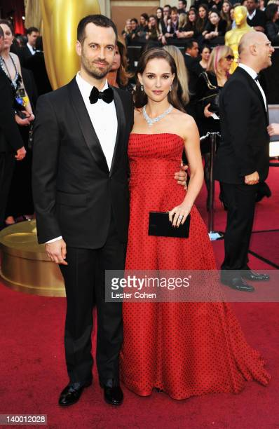 Natalie Portman and husband Benjamin Millepied arrive at the 84th Annual Academy Awards held at the Hollywood Highland Center on February 26 2012 in...