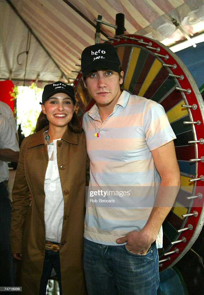 Natalie Portman and Jake Gyllenhaal host the Color Wheel booth at the Wollman Rink in New York's Central Park in New York City New York