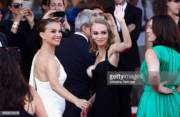 Natalie Portman and LilyRose Depp attend the premiere of 'Planetarium' during the 73rd Venice Film Festival at Sala Grande on September 8 2016 in...