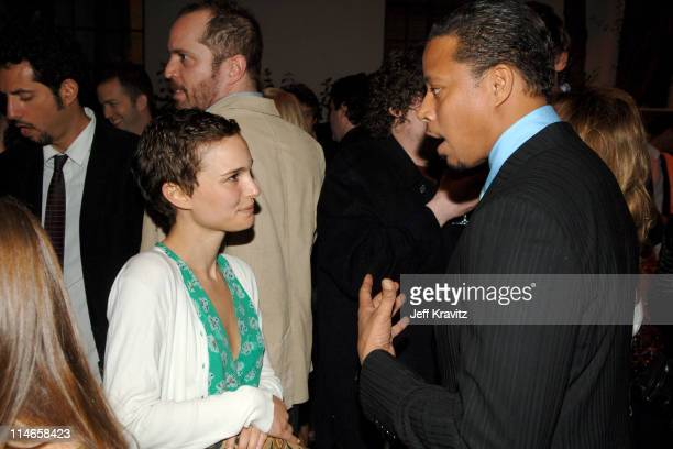 Natalie Portman and Terrence Howard during HBO's Annual PreGolden Globes Private Reception at Chateau Marmont in Los Angeles California United States