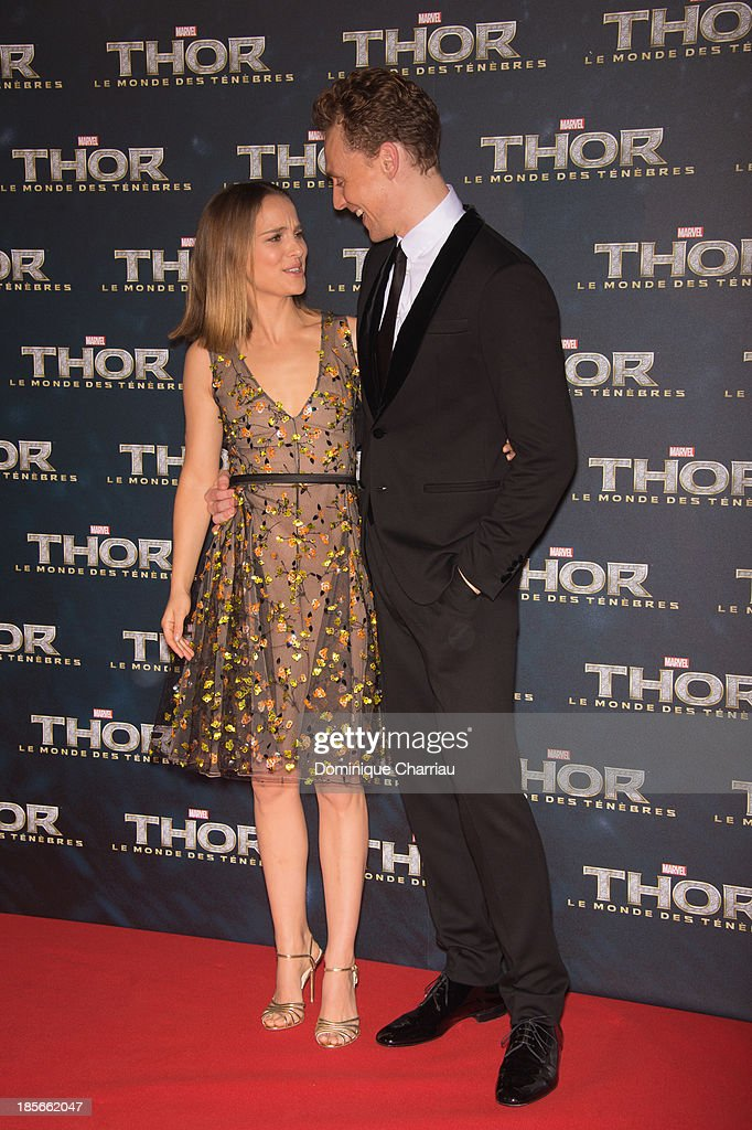 <a gi-track='captionPersonalityLinkClicked' href=/galleries/search?phrase=Natalie+Portman&family=editorial&specificpeople=202035 ng-click='$event.stopPropagation()'>Natalie Portman</a> and Tom Hiddleston attend the 'Thor: The Dark World' Paris Premiere at Le Grand Rex on October 23, 2013 in Paris, France.
