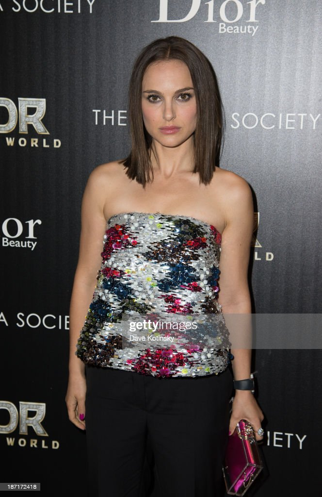 Natalie Portman attends a screening of 'Thor: The Dark World' hosted by The Cinema Society And Dior Beauty at 79 Crosby Street on November 6, 2013 in New York City.
