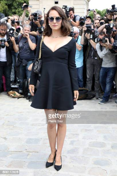 Natalie Portman is seen arriving at the 'Christian Dior' show during Paris Fashion Week Haute Couture Fall/Winter 20172018 on July 3 2017 in Paris...