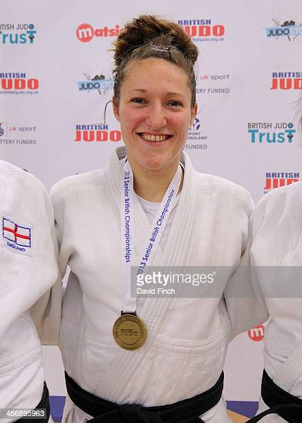 Natalie Powell of Irfon JC smiles happily while wearing her u78kg gold medal during the British Senior Judo Championships Sunday December 15 2013 at...