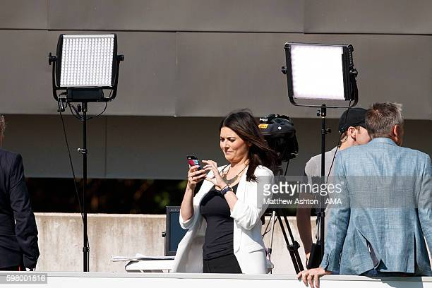 Natalie Sawyer Sky Sports Television presenter during the England training session at St Georges Park on August 30 2016 in BurtonuponTrent England
