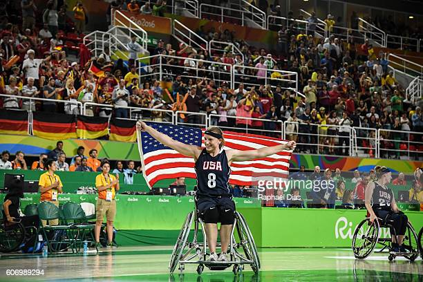Natalie Schneider of United States celebrates their victory after Womens Wheelchair Basketbal gold medal match between United States and Germany on...