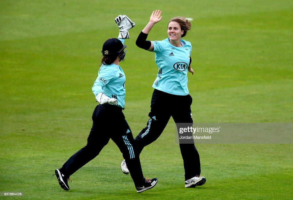 Natalie Sciver and Tammy Beaumont of Surrey celebrates dismissing Stafanie Taylor of Western Storm during the Kia Super League match between Surrey Stars and Western Storm at The Kia Oval on August 23, 2017 in London, England.