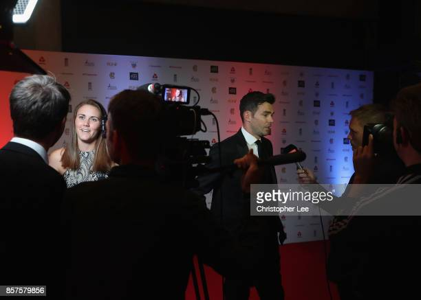 Natalie Sciver of England and James Anderson of England during the NatWest PCA Awards at The Roundhouse on October 4 2017 in London England