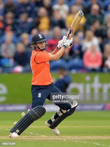Natalie Sciver of England bats during the 3rd NatWest T20 of the Women's Ashes Series between England and Australia Women at SWALEC Stadium on August...