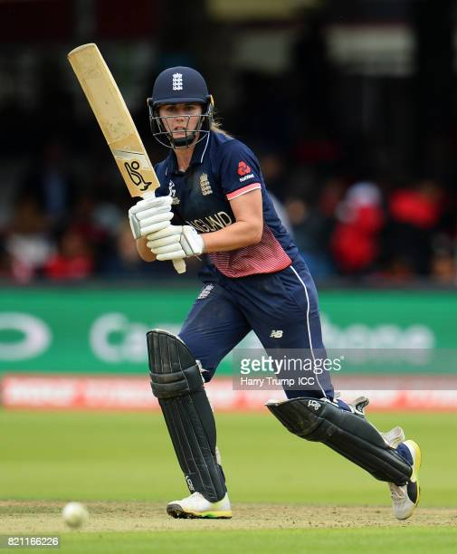 Natalie Sciver of England bats during the ICC Women's World Cup 2017 Final between England and India at Lord's Cricket Ground on July 23 2017 in...