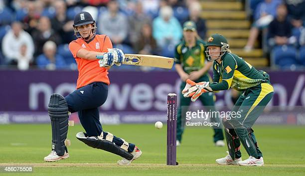 Natalie Sciver of England bats watched by Australian wicketkeeper Alyssa Healy during the 3rd NatWest T20 of the Women's Ashes Series between England...