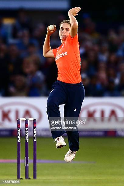 Natalie Sciver of England bowls during the 2nd NatWest T20 of the Women's Ashes Series between England and Australia Women at BrightonandHoveJobscom...