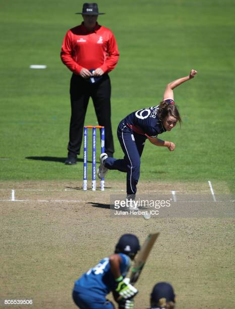 Natalie Sciver of England bowls during The Women's World Cup 2017 match between England and Sri Lanka at The County Ground on July 2 2017 in Taunton...