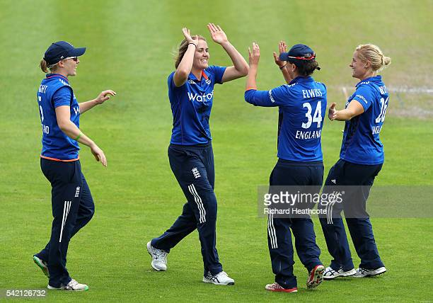Natalie Sciver of England celebrates taking the wicket of Javeria Khan of Pakistan during the second Women's Royal London ODI match between England...