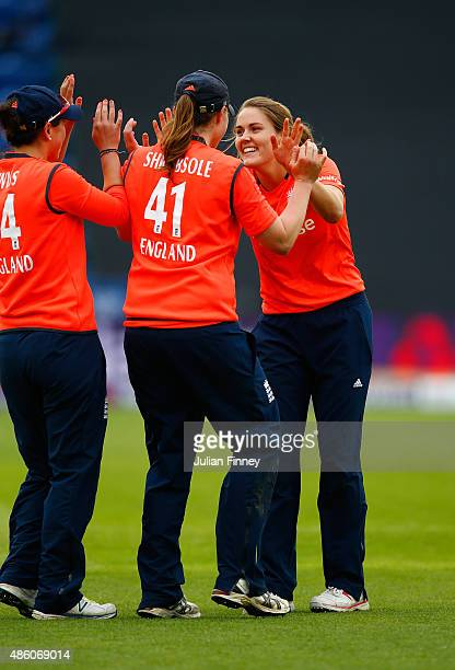 Natalie Sciver of England celebrates taking the wicket of Sarah Coyte of Australia during the 3rd NatWest T20 of the Women's Ashes Series between...