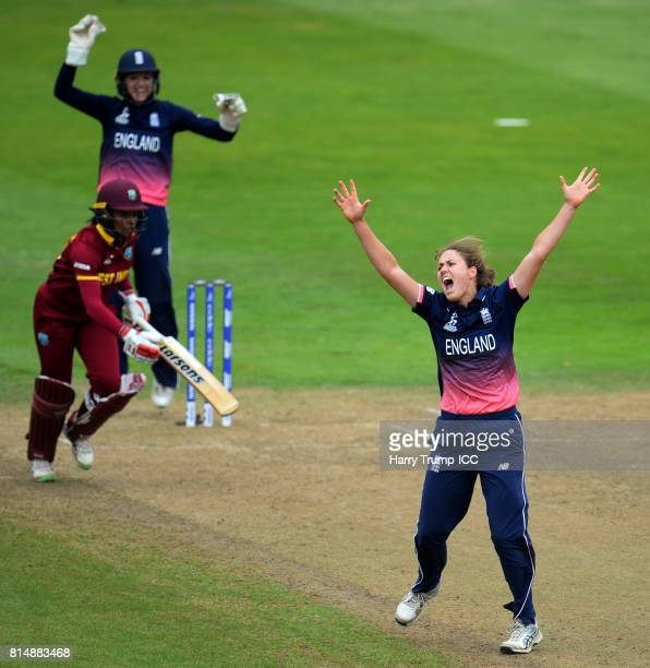 Natalie Sciver of England celebrates the wicket of Chedean Nation of West Indies during the ICC Women's World Cup 2017 match between England and the...