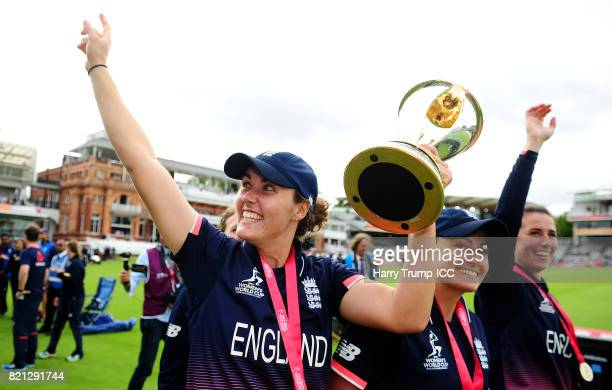 Natalie Sciver of England celebrates with the trophy during the ICC Women's World Cup 2017 Final between England and India at Lord's Cricket Ground...