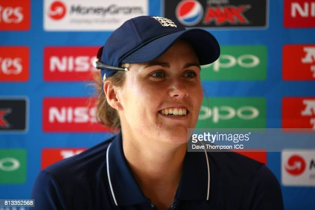 Natalie Sciver of England during a press conference following the ICC Women's World Cup match between England and New Zealand at The 3aaa County...