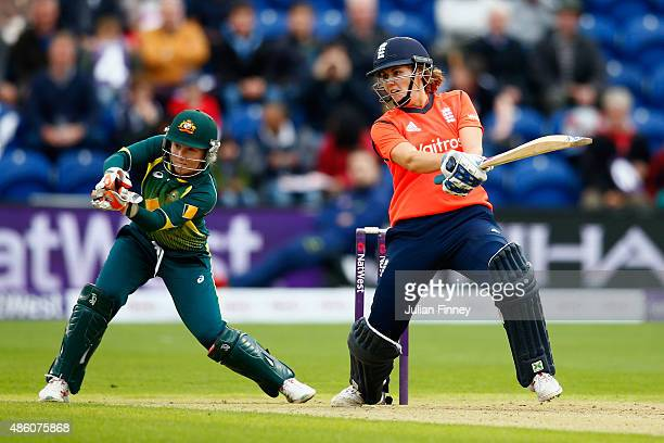 Natalie Sciver of England hits out as Alyssa Healy of Australia keeps wicket during the 3rd NatWest T20 of the Women's Ashes Series between England...