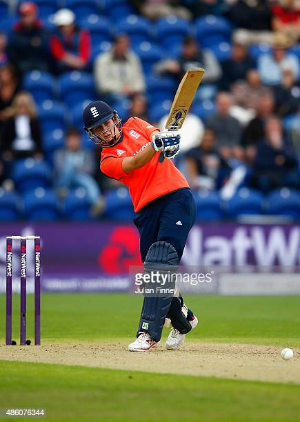 Natalie Sciver of England hits out during the 3rd NatWest T20 of the Women's Ashes Series between England and Australia Women at SWALEC Stadium on...