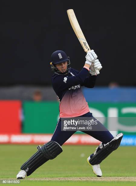Natalie Sciver of England hits the ball towards the boundary during the ICC Women's World Cup 2017 match between England and Pakistan at Grace Road...