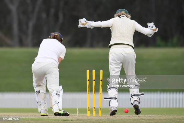 Natalie Sciver of England is bowled out by Sarah Aley of CAXI during day three of the Women's Tour match between England and the Cricket Australia XI...