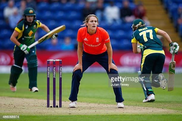 Natalie Sciver of England keeps wicket as Australia score runs during the 3rd NatWest T20 of the Women's Ashes Series between England and Australia...