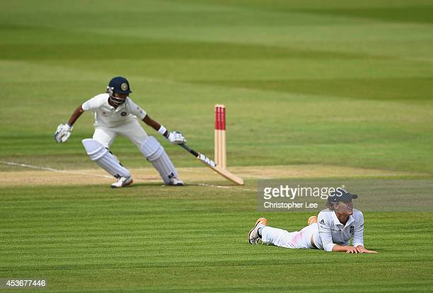 Natalie Sciver of England looks dejected as she lays on the field after a shot by Shikha Pandey of India races past her during Day Four of the Womens...