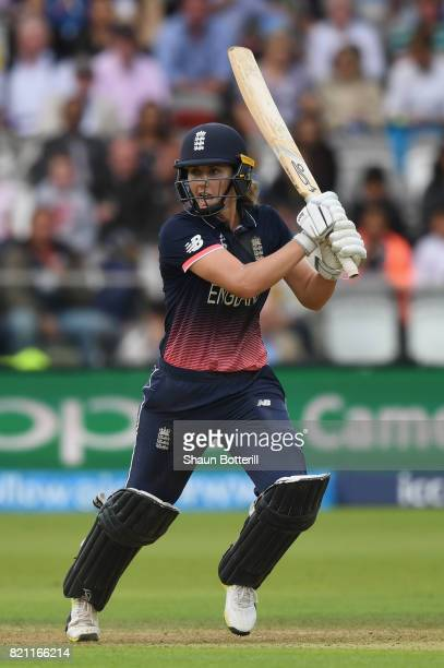 Natalie Sciver of England plays a shot during the ICC Women's World Cup 2017 Final between England and India at Lord's Cricket Ground on July 23 2017...