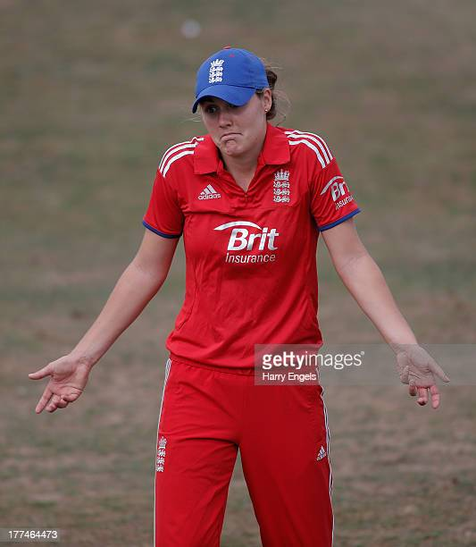 Natalie Sciver of England shrugs her shoulders in the field during the second NatWest One Day International match between England and Australia at...