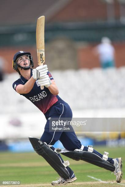 Natalie Sciver of England Women's batting during the ICC women's world cup warm up match between England Women's and New Zealand on June 21 2017 in...