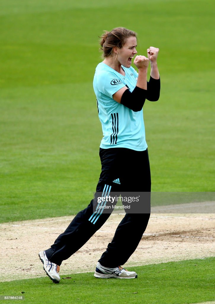 Natalie Sciver of Surrey celebrates dismissing Stafanie Taylor of Western Storm during the Kia Super League match between Surrey Stars and Western Storm at The Kia Oval on August 23, 2017 in London, England.