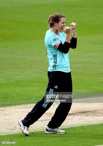 Natalie Sciver of Surrey celebrates dismissing Stafanie Taylor of Western Storm during the Kia Super League match between Surrey Stars and Western...