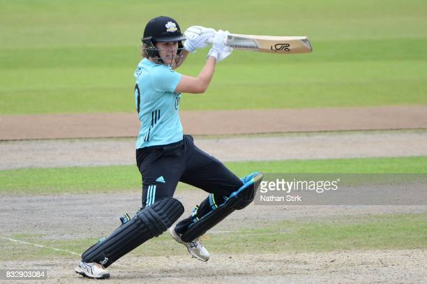 Natalie Sciver of Surrey Stars batting during the Kia Super League 2017 match between Lancashire Thunder and Surrey Stars at Old Trafford on August...