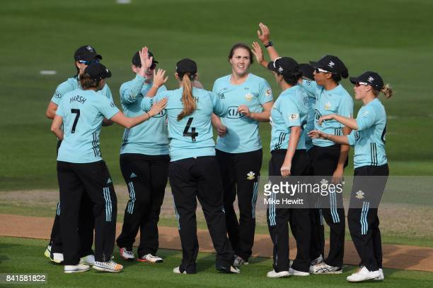 Natalie Sciver of Surrey Stars celebrates with teammates after dismissing Anya Shrubsole of Western Storm during the Women's Kia Super League Semi...