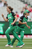 Natalie Sciver of the Stars celebrates a runout during the Women's Big Bash League match between the Melbourne Stars and the Melbourne Renegades at...