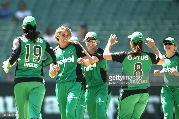 Natalie Sciver of the Stars celebrates the wicket of Tahlia McGrath of the Strikers during the Women's Big Bash League match between the Melbourne...