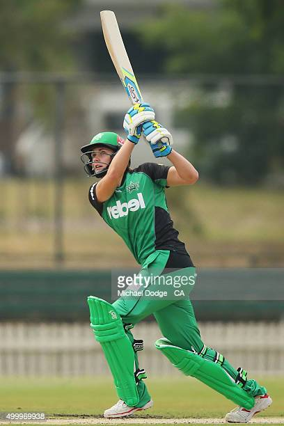 Natalie Sciver of the Stars hits the ball for six during the Women's Big Bash League match between the Brisbane Heat and the Melbourne Stars at...