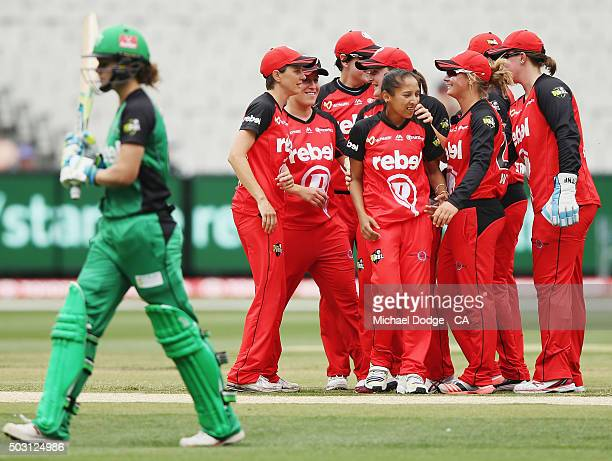 Natalie Sciver of the Stars walks off after being bowled by Shabnim Ismail of the Renegades during the Women's Big Bash League match between the...