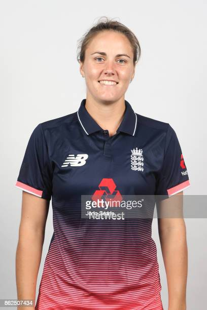 Natalie Sciver poses during the England women's Test headshots session on October 13 2017 in Brisbane Australia
