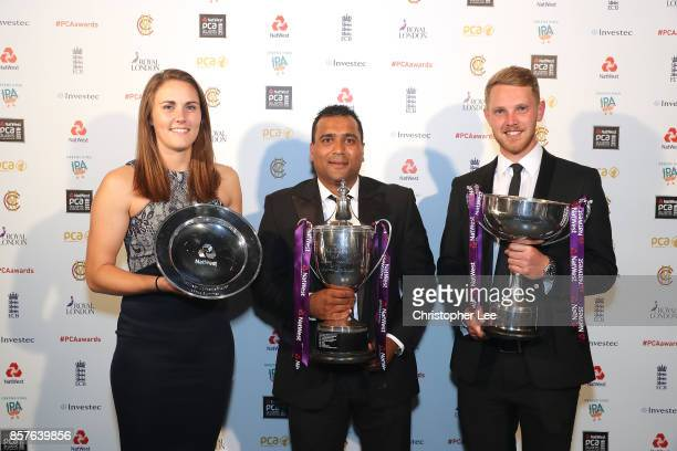 Natalie Sciver with her NatWest Womens Player of the Summer Samit Patel with The Reg Hayter Cup for the NatWest PCA Players Player of the Year and...