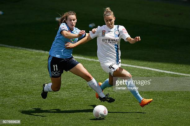 Natalie Tobin of Sydney FC and Steph Catley of Melbourne City compete during the 2016 WLeague Grand Final match between Melbourne Victory and Sydney...