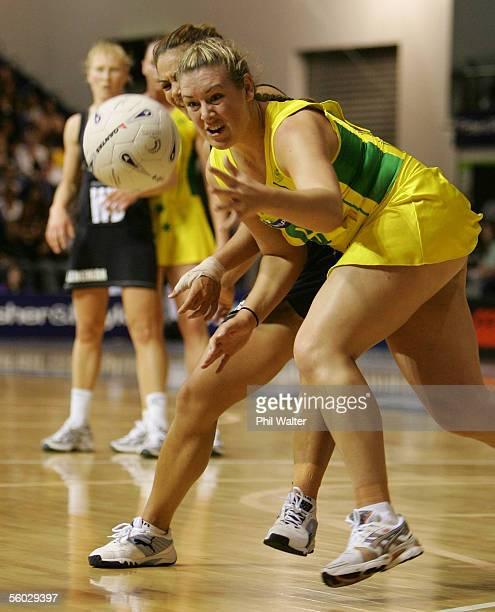 Natalie Von Bertouch of Australia is put under pressure by Temepara George of New Zealand during the New Zealand and Australia Netball test match...