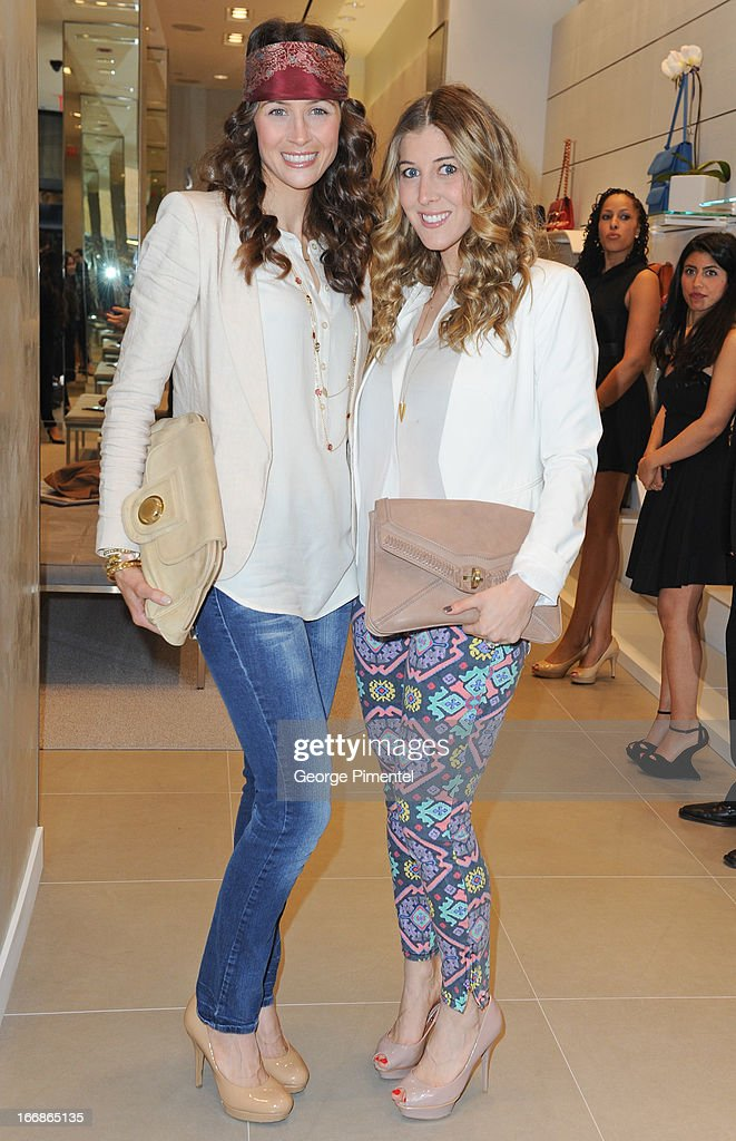Natalie Von Teichman and Lesley McClement attend the opening of the Stuart Weitzman Boutique on April 17, 2013 in Toronto Ontario Canada.
