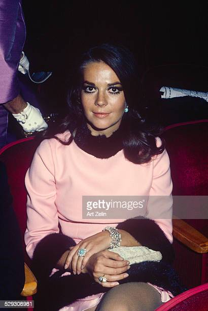Natalie Wood wearing a pink fur trimmed dress circa 1970 New York