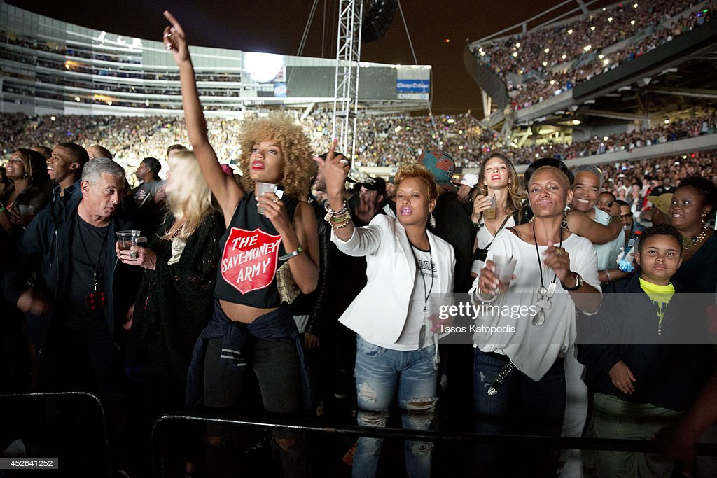 Natalie Wright attends the D'USSE VIP Riser and Lounge at On The Run Tour Chicago at Soldier Field on July 24, 2014 in Chicago, Illinois.